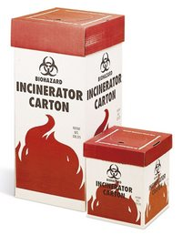 Incinerator carton for biohazardous waste